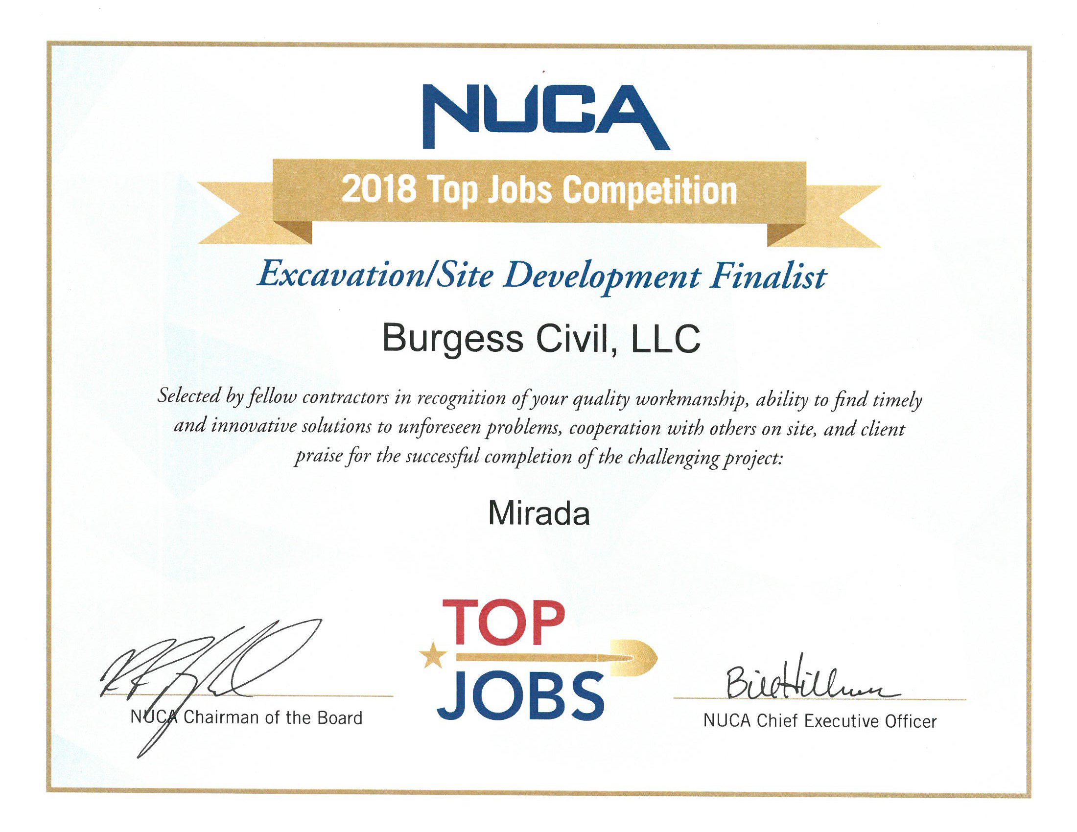 Mirada Excavating and Site Work Contractor Awards